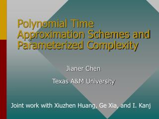 Polynomial Time Approximation Schemes and Parameterized Complexity