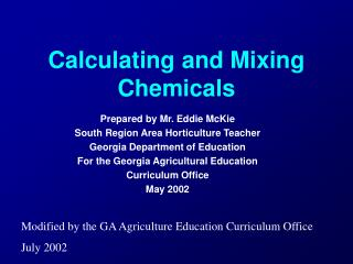 Calculating and Mixing Chemicals