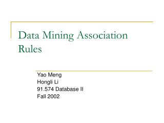 Data Mining Association Rules