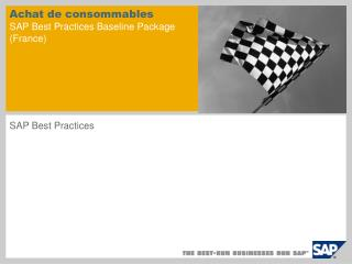 Achat de consommables SAP Best Practices Baseline Package  (France)