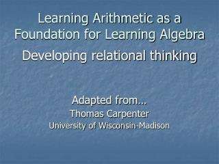 Learning Arithmetic as a  Foundation for Learning Algebra