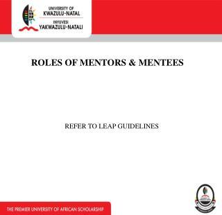 ROLES OF MENTORS & MENTEES