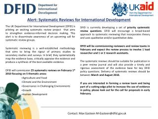Alert: Systematic Reviews for International Development