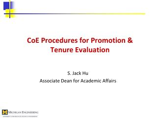 CoE  Procedures for Promotion & Tenure Evaluation