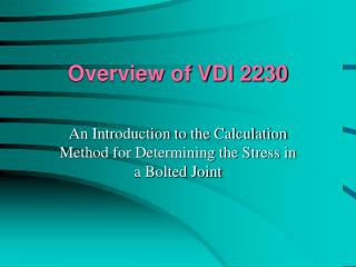 Overview of VDI 2230