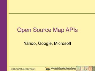 Open Source Map APIs