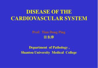 DISEASE OF THE CARDIOVASCULAR SYSTEM