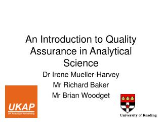 An Introduction to Quality Assurance in Analytical Science