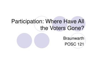 Participation: Where Have All the Voters Gone?