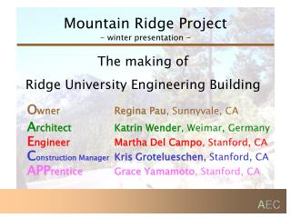 Mountain Ridge Project - winter presentation -
