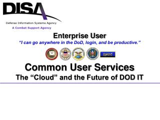 "Enterprise User ""I can go anywhere in the DoD, login, and be productive."" Common User Services"