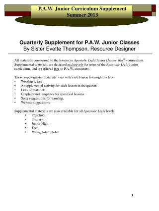 P.A.W. Junior Curriculum Supplement Summer 2013