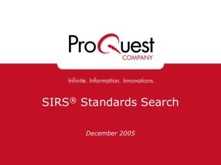 SIRS ®  Standards Search