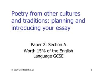 Poetry from other cultures and traditions: planning and introducing your essay