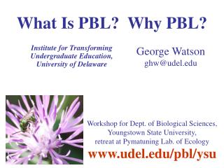 What Is PBL?  Why PBL?