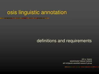 osis linguistic annotation