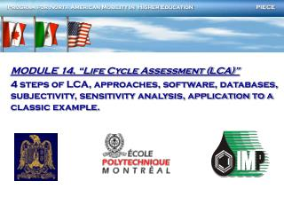 "MODULE 14. ""Life Cycle Assessment (LCA)"""