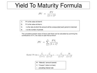 Yield To Maturity Formula