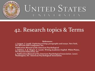 42. Research topics & Terms
