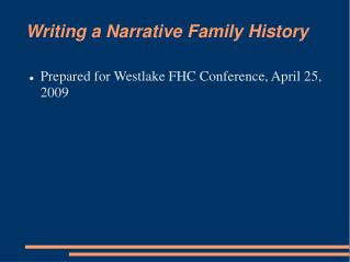 Writing a Narrative Family History