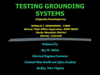 TESTING GROUNDING SYSTEMS