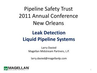 Pipeline Safety Trust 2011 Annual Conference New Orleans