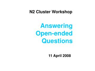 N2 Cluster Workshop
