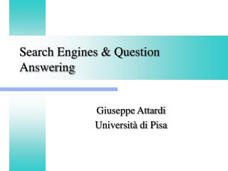Search Engines & Question Answering