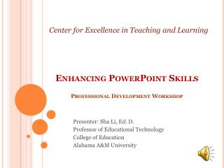 Enhancing PowerPoint Skills Professional Development Workshop
