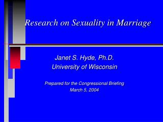 Research on Sexuality in Marriage