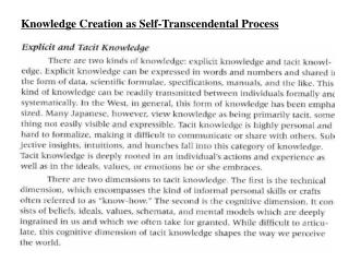 Knowledge Creation as Self-Transcendental Process