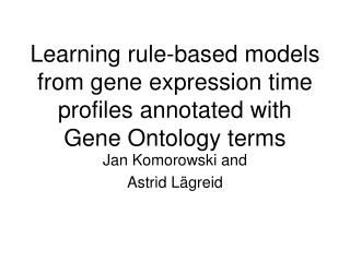 Learning rule-based models from gene expression time  profiles annotated with Gene Ontology terms