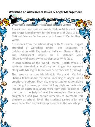 Workshop on Adolescence  Issues &  Anger  Management World  Mental  Health Week