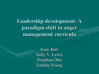 Leadership development: A paradigm shift in anger management curricula