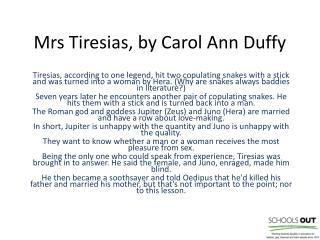 Mrs Tiresias, by Carol Ann Duffy