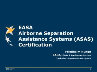 EASA  Airborne Separation Assistance Systems (ASAS) Certification