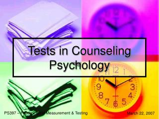 Tests in Counseling Psychology