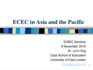 ECEC in Asia and the Pacific