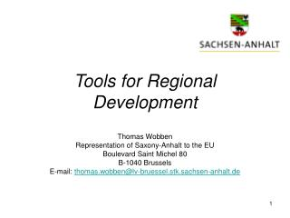 Tools for Regional Development
