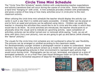 Circle Time Mini Schedule