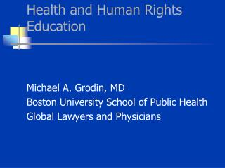 Health and Human Rights Education