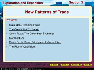 Preview Main Idea / Reading Focus The Columbian Exchange Quick Facts: The Columbian Exchange
