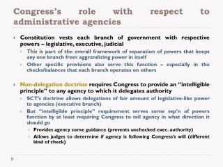 Congress's role with respect to administrative agencies
