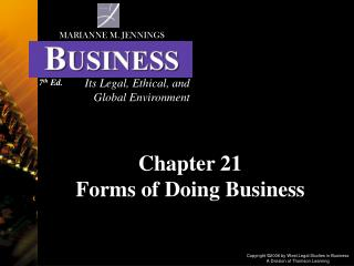 Chapter 21 Forms of Doing Business
