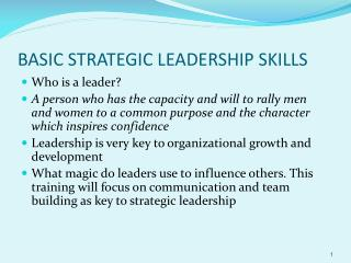 BASIC STRATEGIC LEADERSHIP SKILLS