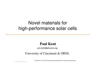 Novel materials for high-performance solar cells