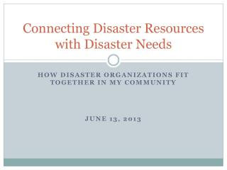 Connecting Disaster Resources with Disaster Needs