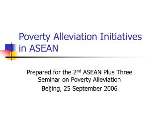 Poverty Alleviation Initiatives in ASEAN