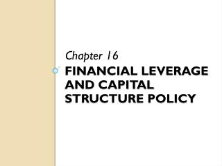 Financial leverage and capital structure policy
