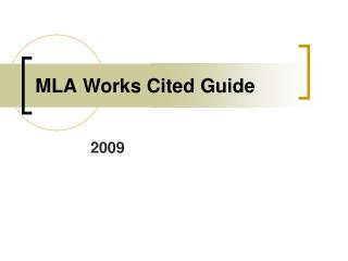 MLA Works Cited Guide